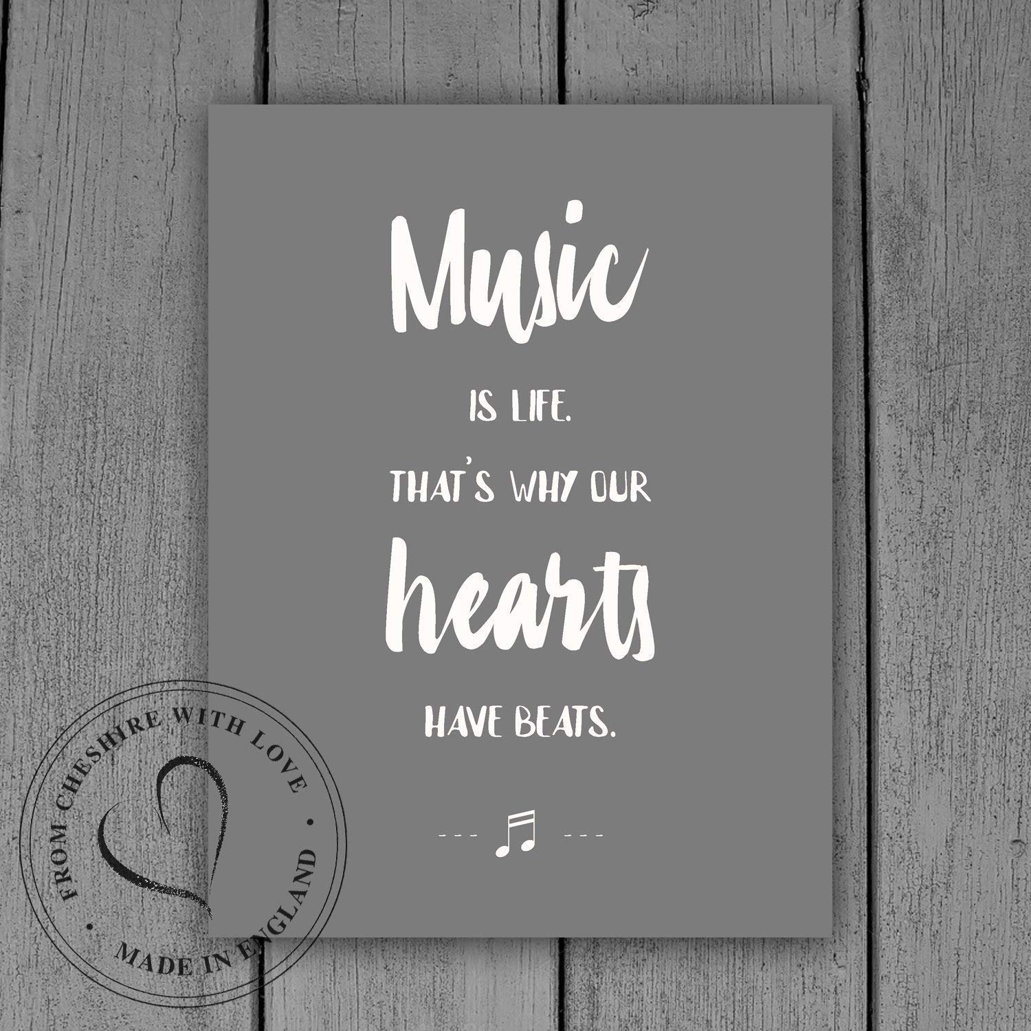 'Music Is Life. That's Why Our Hearts Have Beats' Illustrative PRINT. Available As Either A Print Or A Mounted Print. Music Themed Gift Print.