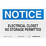 "Brady 84937 10"" Width x 7"" Height B-302 Polyester, Blue and Black on White Electrical Hazard Sign, Header ""Notice"", Legend ""Electrical Closet No Storage Permitted"""