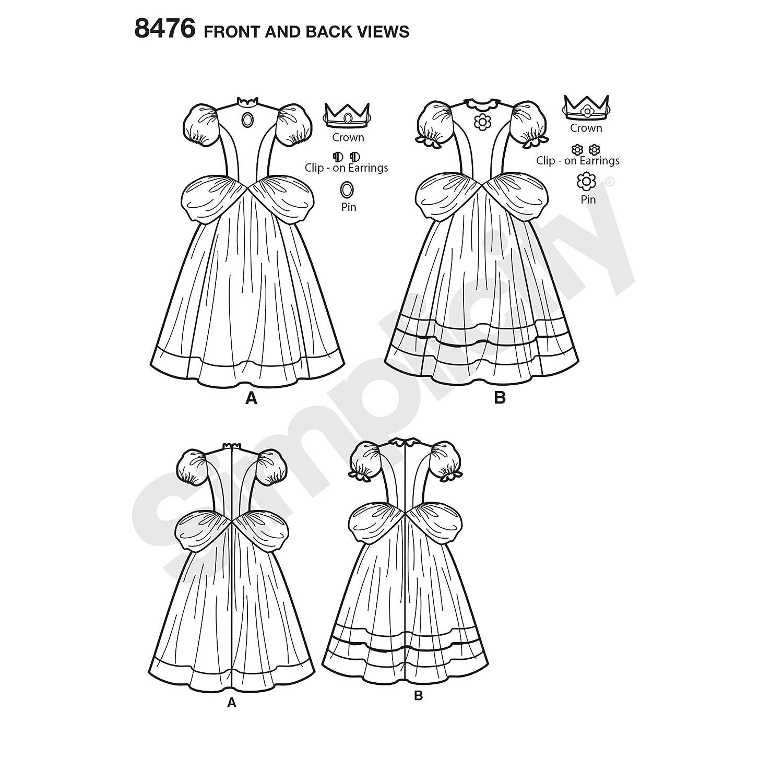 Paper White 6-8-10-12-14 Simplicity 8476Pattern 8476 Women/'s Super Mario Princesses Costumes H5