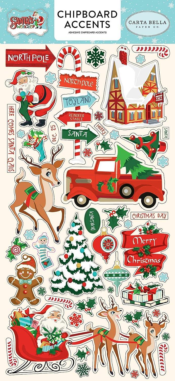 Carta Bella Paper Company CBSW90021 Santa's Workshop 6x12 Chipboard Accents, Red, Green, Black, Blue Echo Park Paper Company