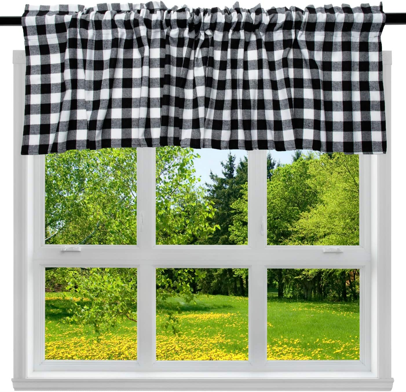"2 Pack Buffalo Check Plaid Cotton Window Valances White and Black Farmhouse Design Window Treatment Lined Decor Curtains Rod Pocket Valances for Kitchen/Living Room 16"" x 56"""