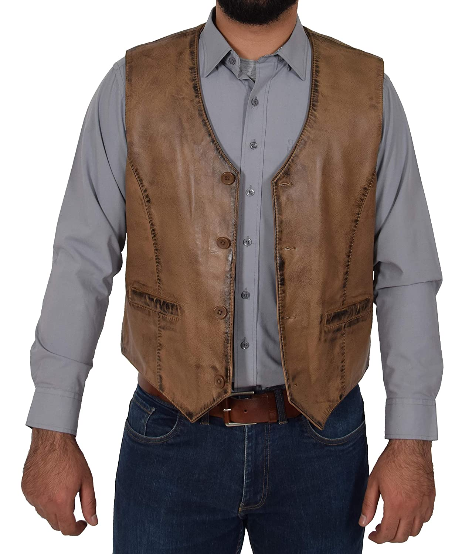 King Mens Full Soft Leather Waistcoat Stone Gilet Traditional Smart Vest