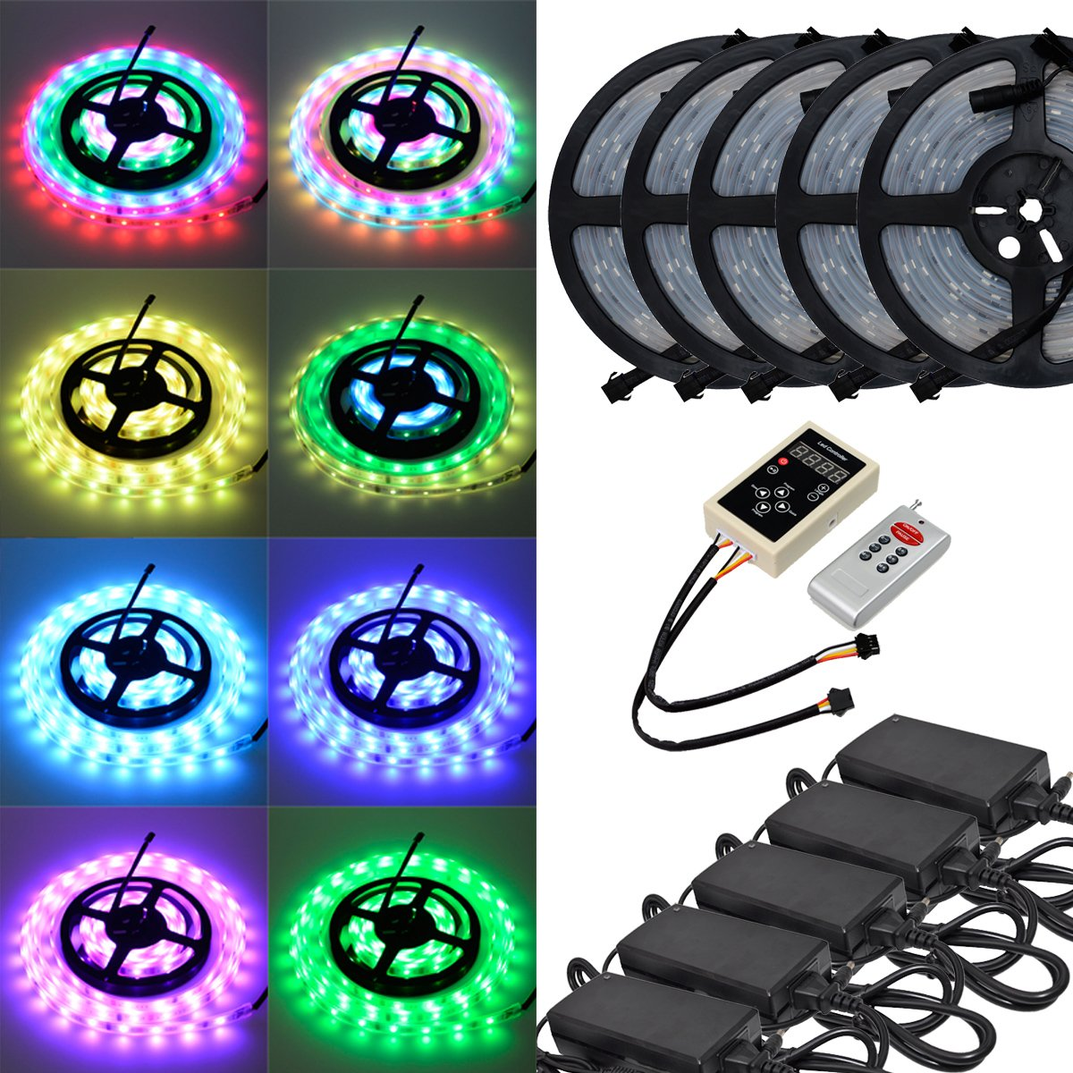 6803 IC RGB Magic Dream Color Multicolors LED Strip Lights Full Set ( Strip Lights + Remote Controller + Power Adapter ) Waterproof IP67 Tube Covered (25m/82ft)