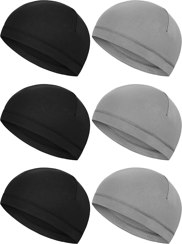Boao 6 Pieces Helmet Liner Skull Caps Sweat Wicking Cap Running Hats Cycling Skull Caps for Men and Women