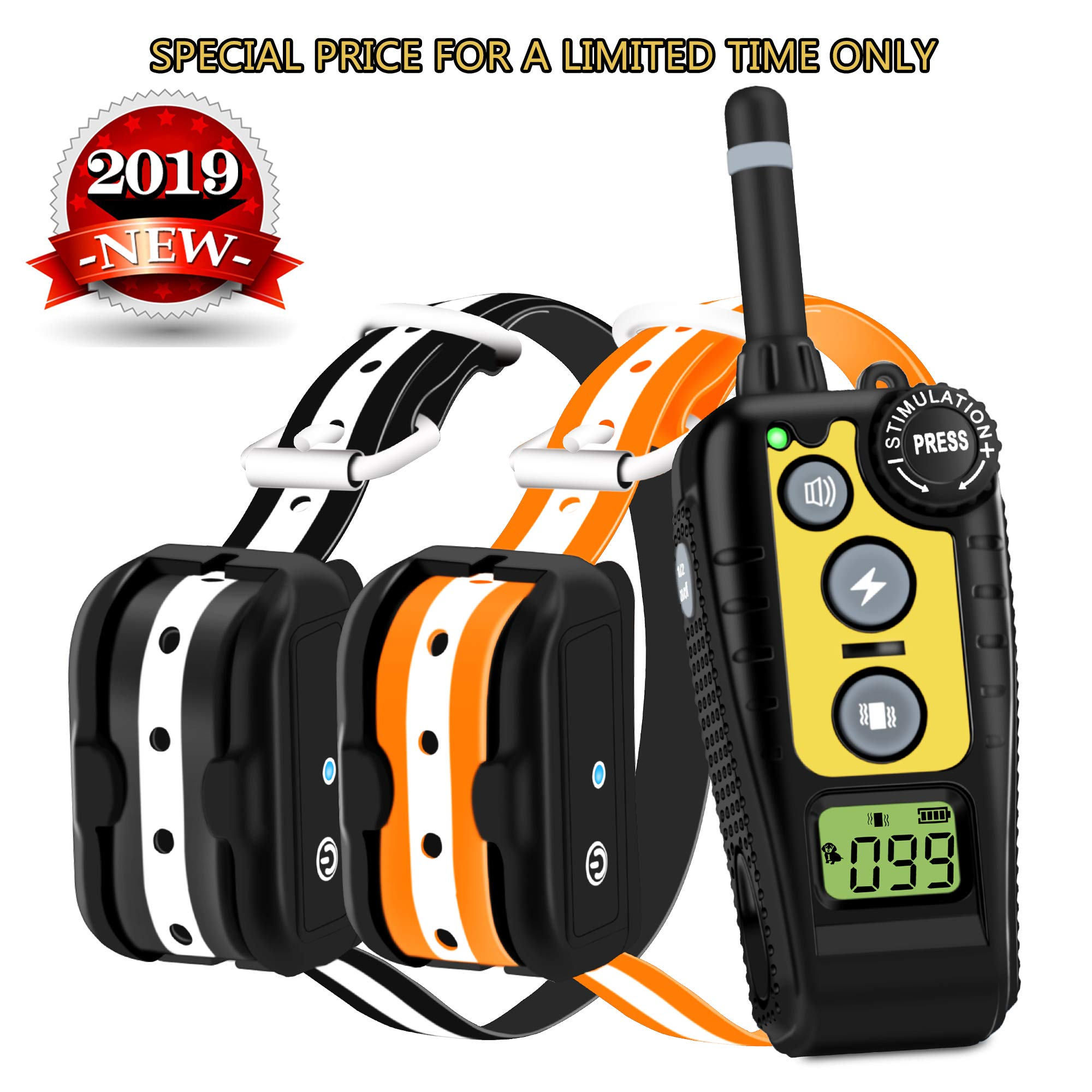 Luckgot Dog Training Collar for 2 Dogs Waterproof and Rechargeable Shock Collar with Security Anti-Shock Remote,Beep Vibration and Shock Modes for Small Medium and Large Dogs Range 1600 Ft
