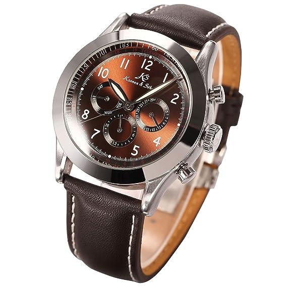 KS KS125 - Navigator Reloj Mecánico Hombre, Correa de Cuero: Amazon.es: Relojes