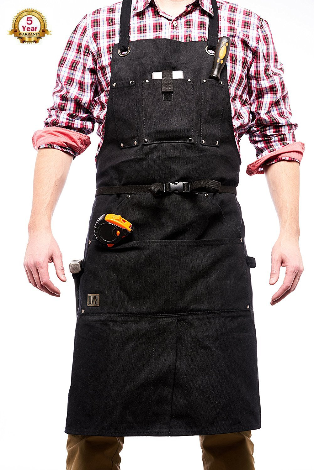 DWS Premium Waxed Canvas Apron with Lots of Additional Pockets & Roomy Pouches. Water Resistant, with 2 Hammer Loops, Quick Release Buckle, Adjustable up to XXL. for Carpenter, Machinist, Home