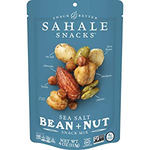 Sahale Snacks Sea Salt Bean + Nut Snack Mix, 4 Ounces (Pack of 6)