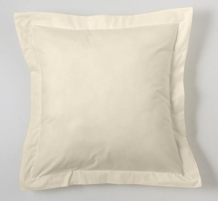 ESTELA - Funda de cojín Combi Liso Cala Color Crema - Medidas 55x55+5 cm. - 100% Algodón - 144 Hilos - Acabado en pestaña: Amazon.es: Hogar