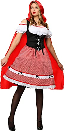 Women Girl Little Red Riding Hood Halloween Cosplay Costume Adult Child Outfit