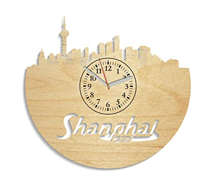 Shanghai Wooden Wall Clock Modern Gift Idea For Adults Minimalist Decals