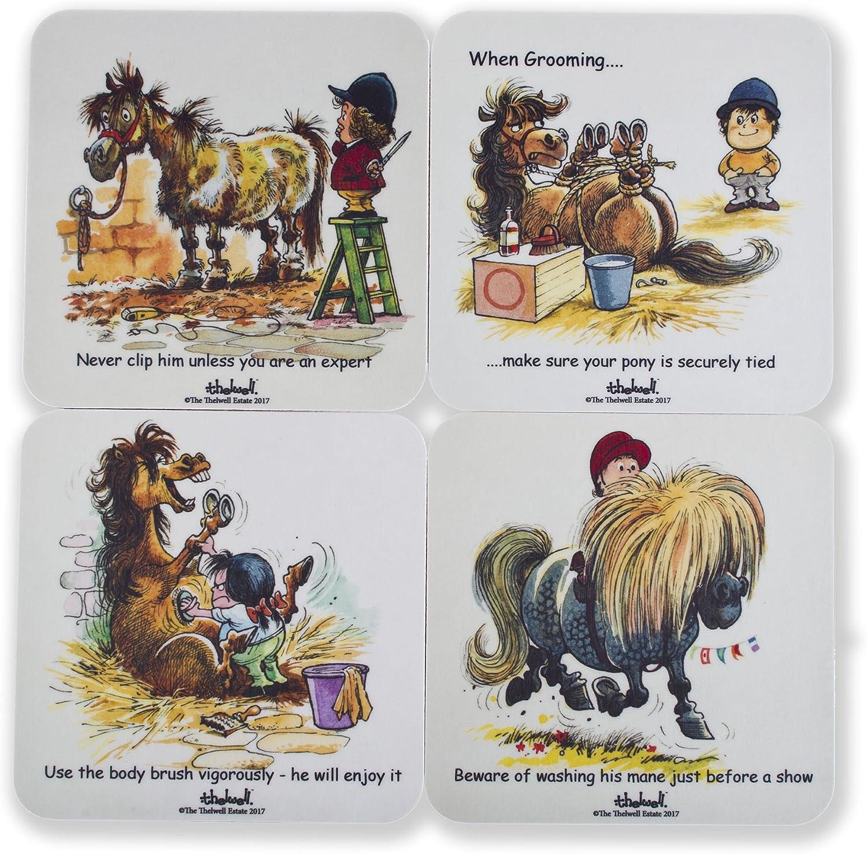 4posavasos Thelwell divertidos con ponis o caballos. Ideal para regalar