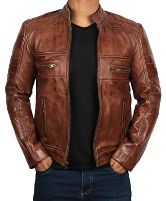 972bd7d9ed21 Brown Leather Jacket for Men - Distressed Genuine Motorcycle Leather Jackets  at Amazon Men's Clothing store: