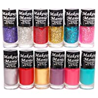 Makeup Mania Nail Polish Set Combo (Blue, Silver, Red, Golden, Green, Pink, Pack of 12)