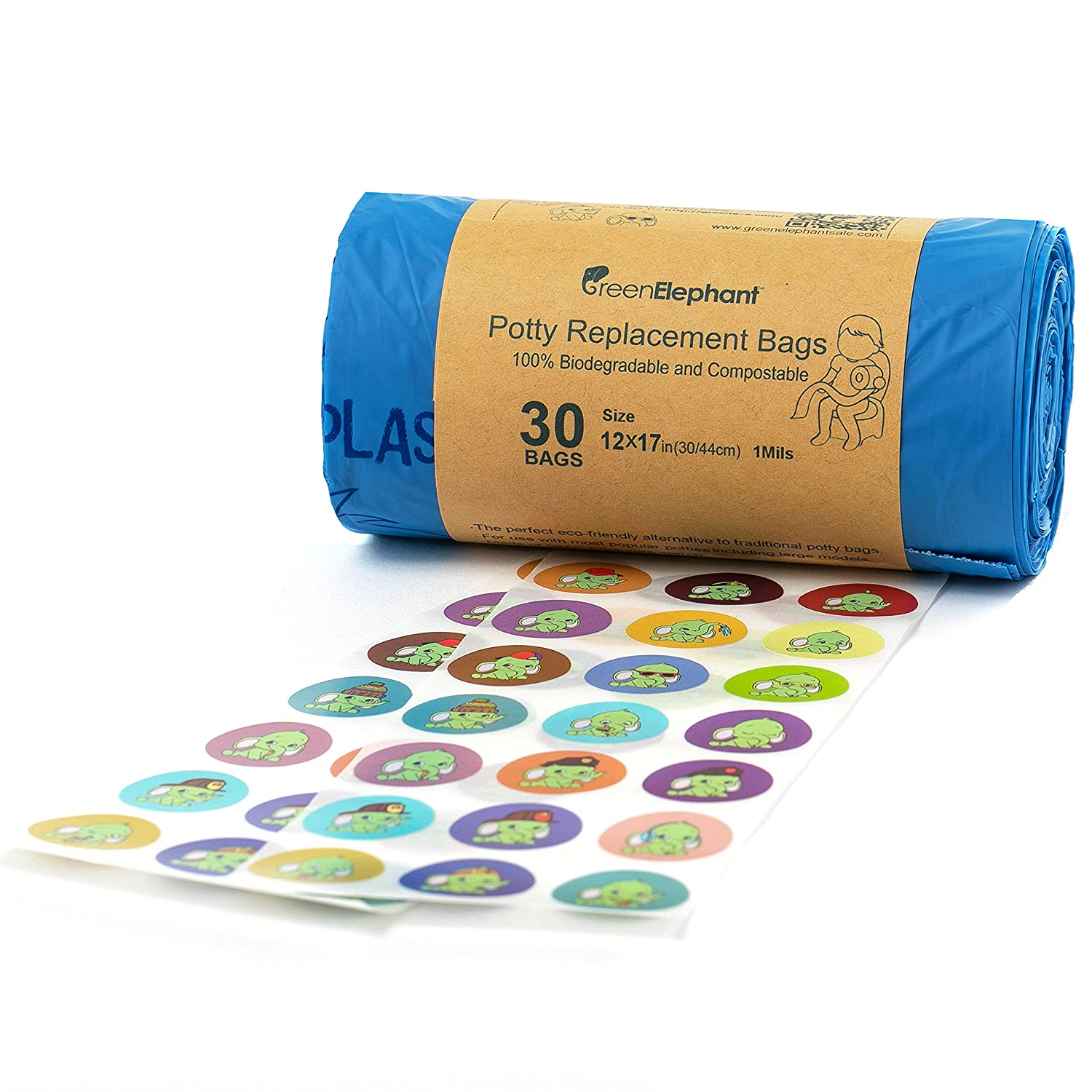 ASTM D6400 and VINCOTTE OK Compost Certified by Green Elephant Universal Fit 30 Count Replacement Potty Liners 100/% Biodegradable Compostable Refill Training Seat Bags