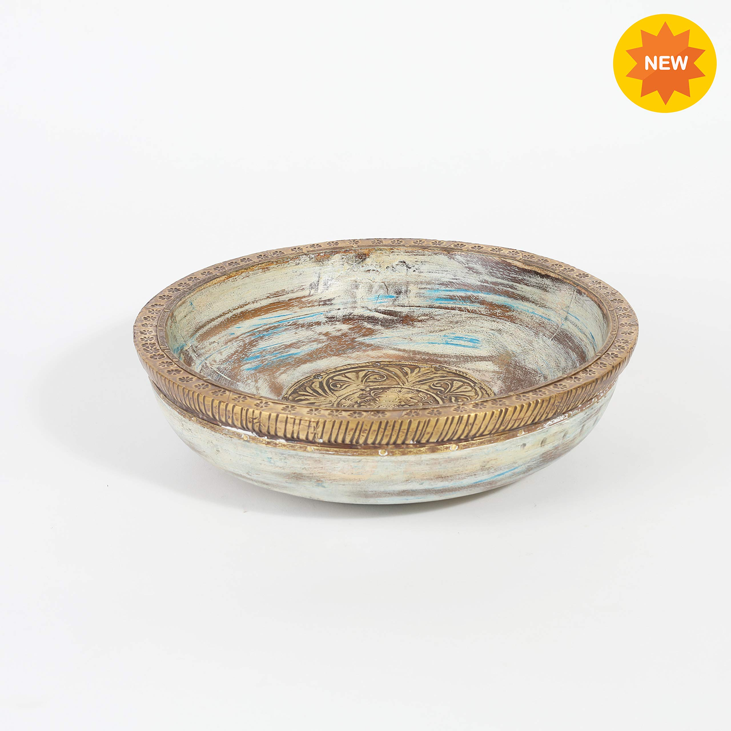 Rusticity Wood Decorative Bowl/Serving Bowl/Key Bowl/Rustic Fruit Bowl | Mango Wood | Premium Quality | Handmade | (9 inch)