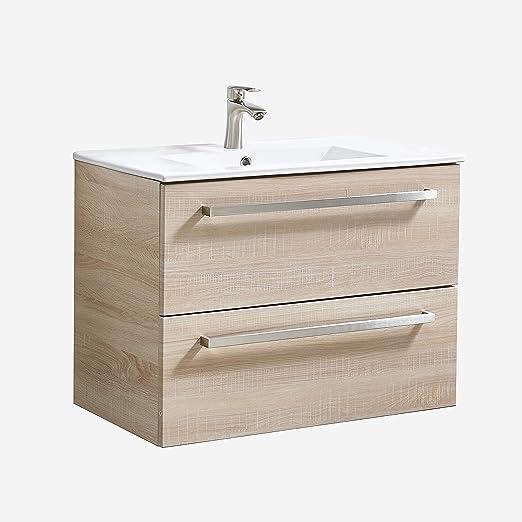 Mueble de baño ATUM HOME con lavabo de 800 mm, 2 cajones con asa plateada, totalmente montada: Amazon.es: Hogar