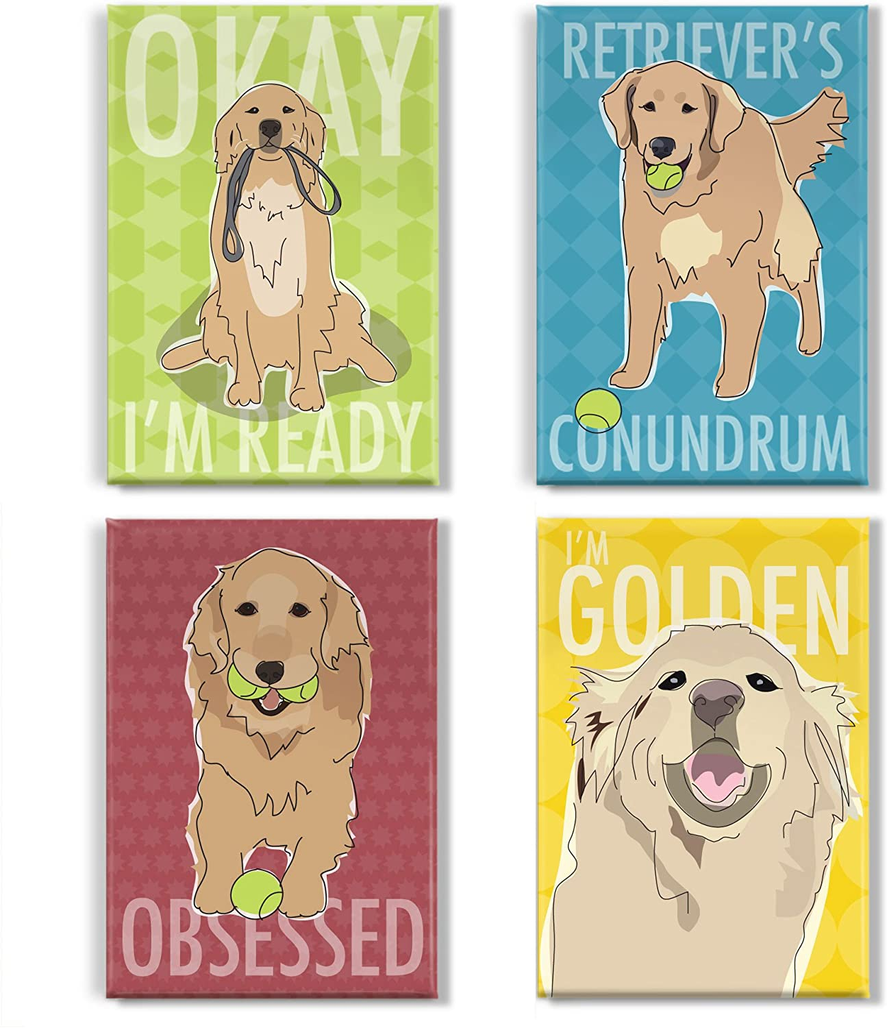 Pop Doggie Golden Retriever Refrigerator Magnets with Funny Sayings (Set of 4)