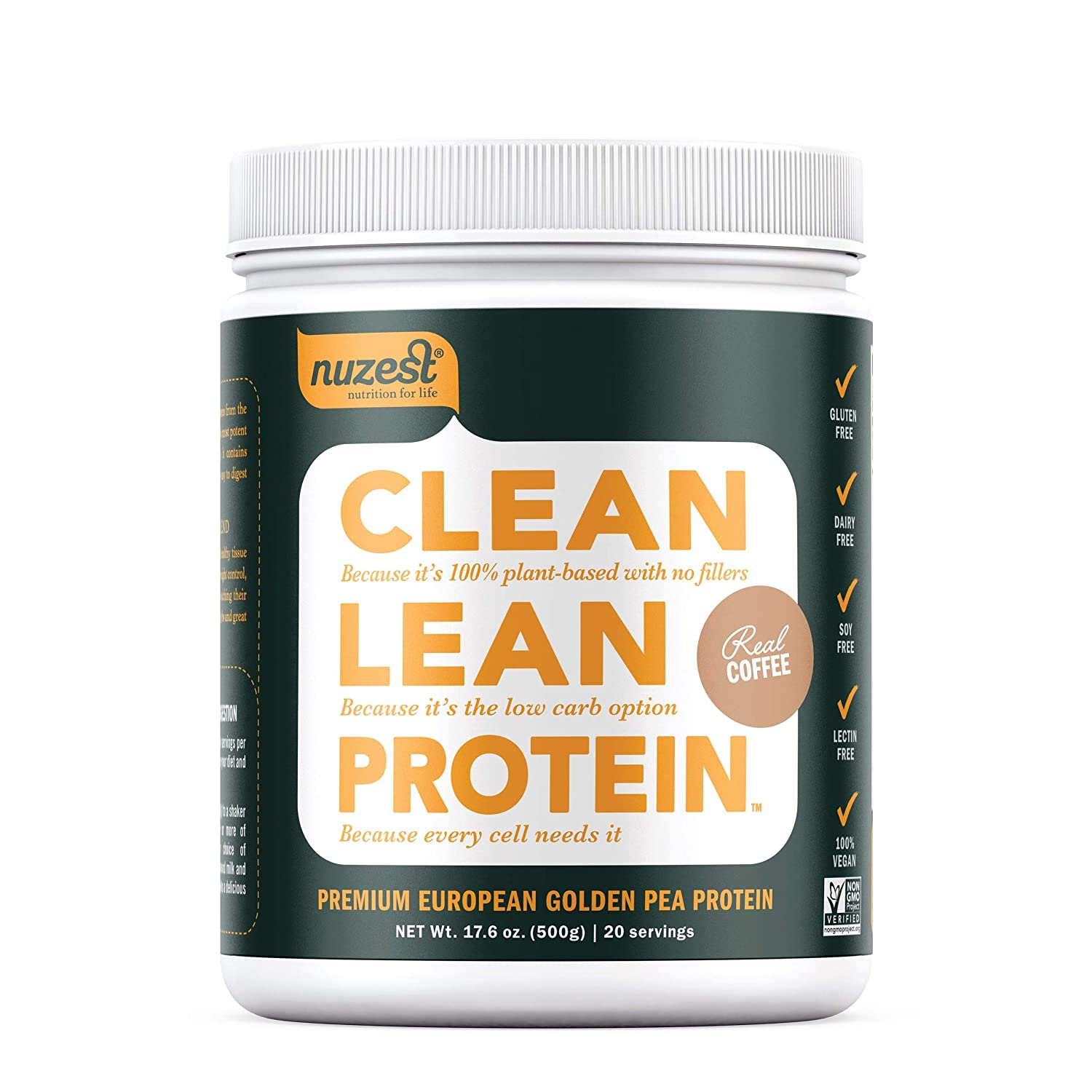 Nuzest Clean Lean Protein – Premium Vegan Protein Powder, Plant Protein Powder, European Golden Pea Protein, Dairy Free, Gluten Free, GMO Free, Naturally Sweetened, Real Coffee, 20 Servings, 1.1 lb