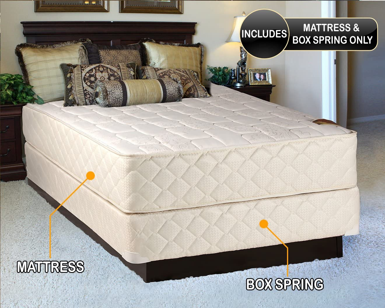 Amazon Com Grandeur Deluxe King Size 76 X80 X12 Mattress And Box Spring Set Fully Assembled Good For Your Back Luxury Height Long Lasting And 2 Sided By Dream Solutions Usa Kitchen