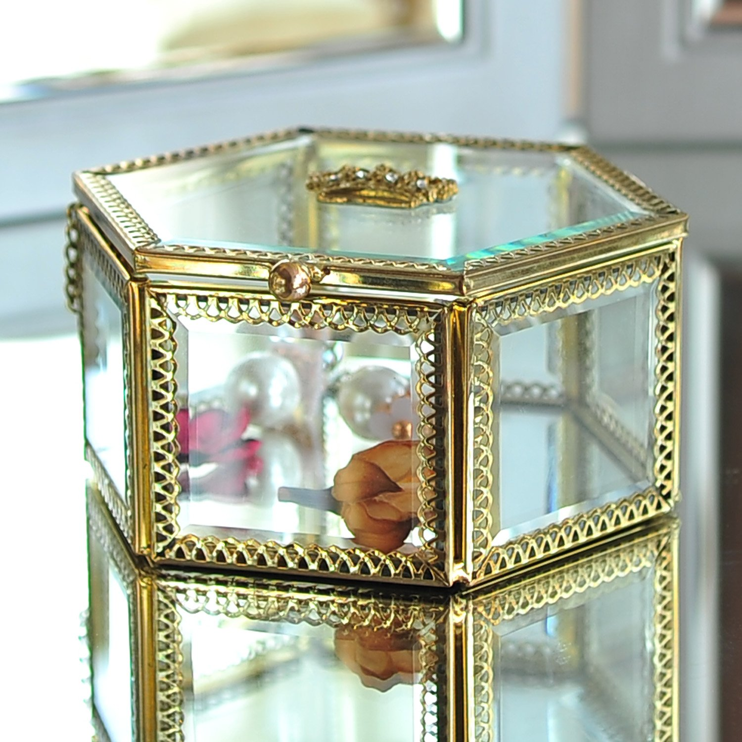 Hexagonal Clear Glass & Brass Metal Hinged Top Lid Plant Terrarium Box / Tabletop Display Case by Hersoo