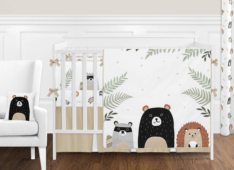 Sweet Jojo Designs Bear Raccoon Hedgehog Forest Animal Woodland Pals Baby Unisex Boy or Girl Nursery Crib Bedding Set with Bumper - 9 Pieces - Neutral Beige, Green, Black and Grey