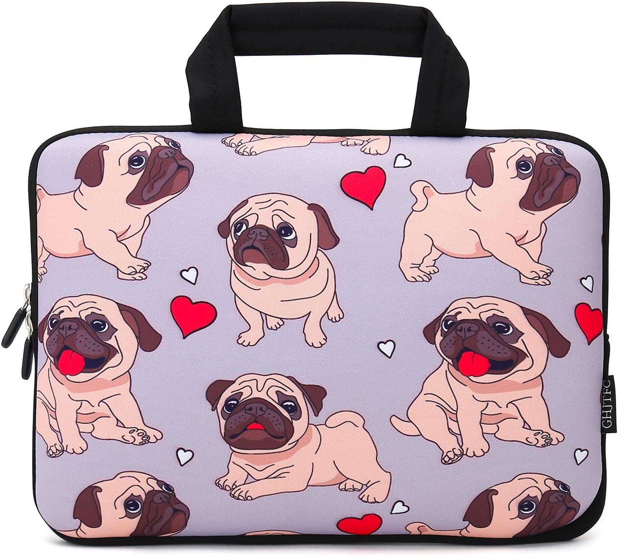 12 Inch Laptop Sleeve Carrying Bag Protective Case Neoprene Sleeve Tote Tablet Cover Notebook Briefcase Bag with Handle for Women Men(Pug,12