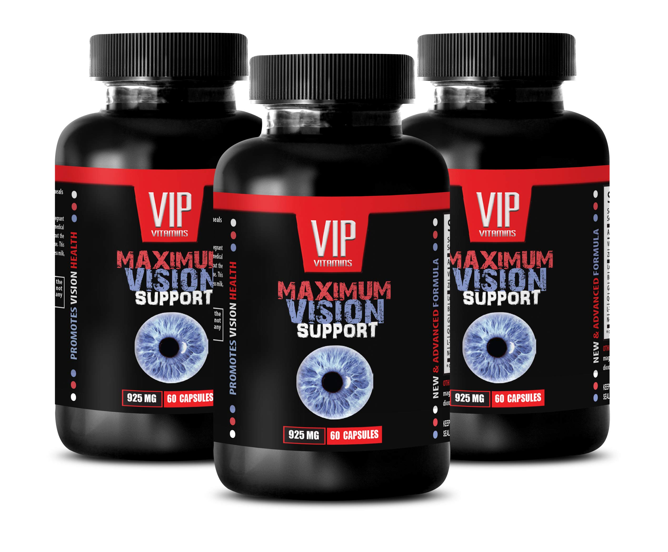 Vitamins for Eye Care - Maximum Vision Support - Bilberry Fruit Extract - 3 Bottle 180 Capsules