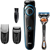 Braun Beard Trimmer BT5240, Hair Clippers for Men, Cordless & Rechargeable with Gillette ProGlide Razor, Black/Blue