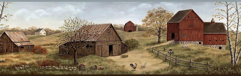 Chesapeake CTR65391B Alanna Blue Farmstead Wallpaper Border