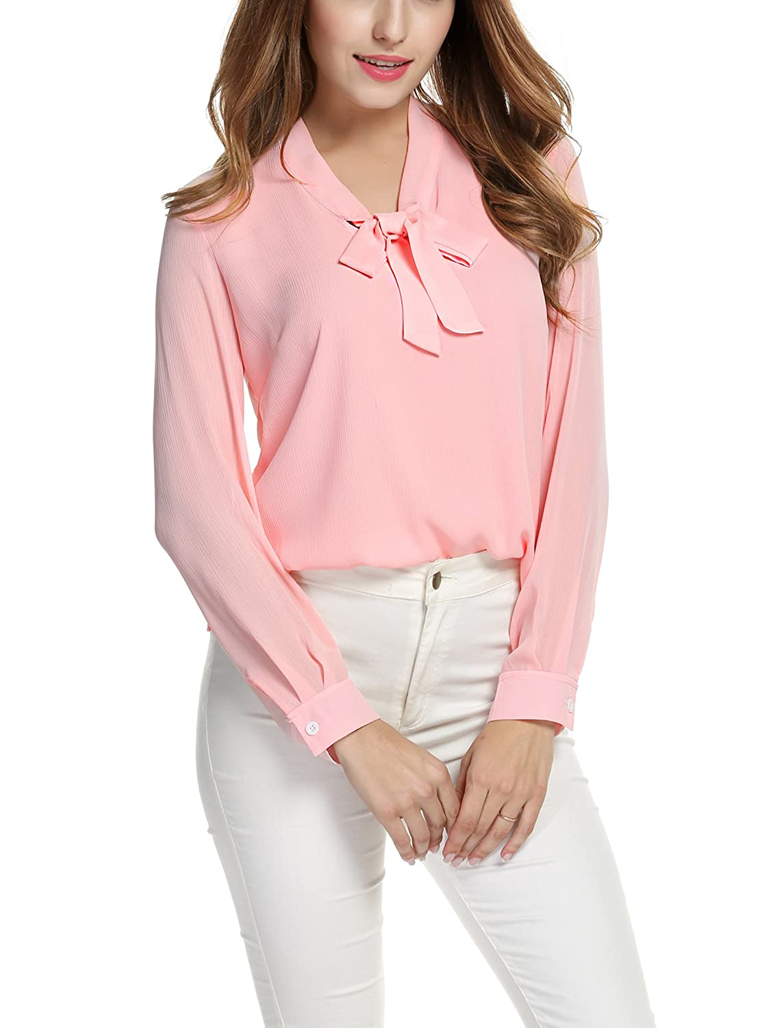 194086b201547 Amazon.com  ACEVOG Womens Bow Tie Neck Long Short Sleeve Casual Office Work  Chiffon Blouse Shirts Tops  Clothing