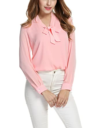 a82f78b9406ed3 ACEVOG Tops Womens Bow Tie Neck Long Sleeve Office Work Blush Chiffon Blouse  Shirts