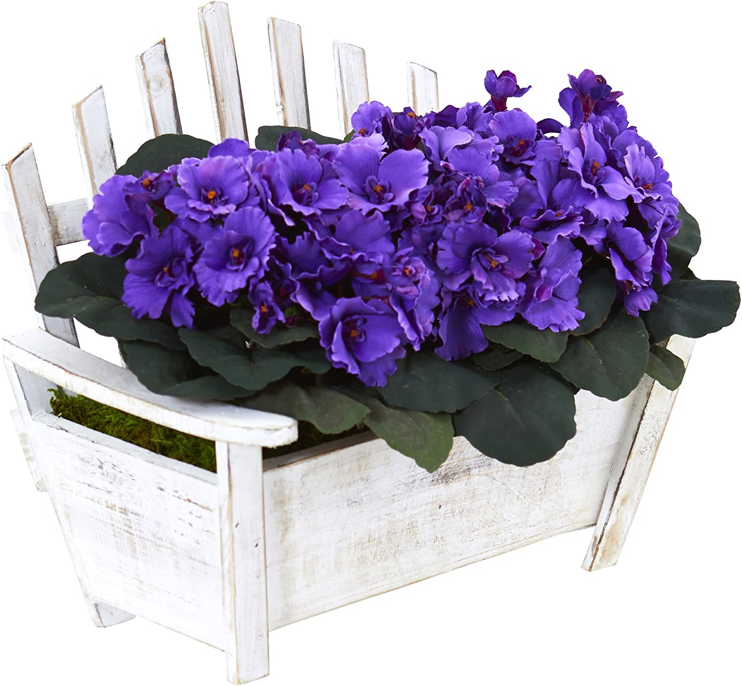 Nearly Natural African Violet Artificial Plant In Wooden Bench Planter Purple 7 5 Dx14 Wx10 5 H Home Kitchen