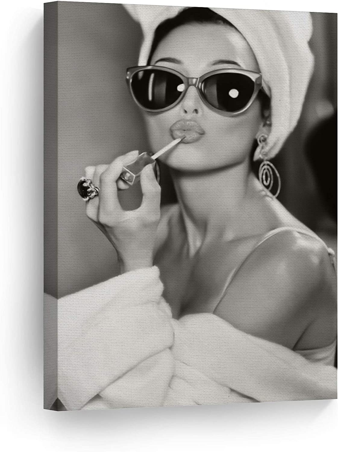 Smile Art Design Audrey Hepburn Wall Art Canvas Print Lipstick Makeup Iconic Pop Art Beauty Black and White Wall Art Living Room Bedroom Wall Decor Vintage Ready to Hang Made in USA - 12x8