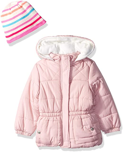 f94178342674 Amazon.com  Pink Platinum Girls  Quilted Puffer with Accessory  Clothing