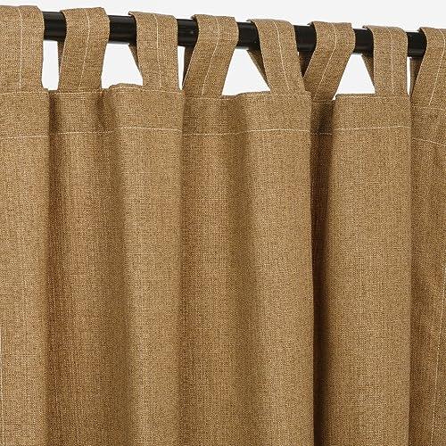 Sunbrella Outdoor Curtain with Tab Top – Linen Sesame, 50×96