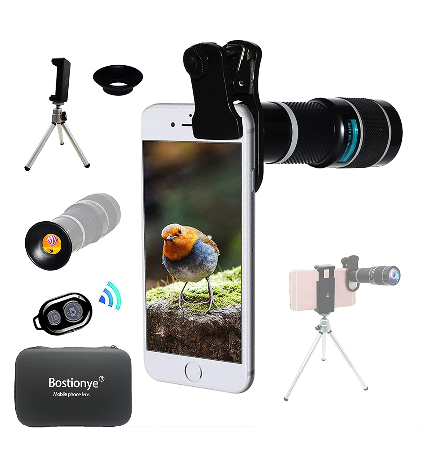 Universal 20X Zoom Telephoto Lens External Mobile Phone Camera Lens with Clip UK