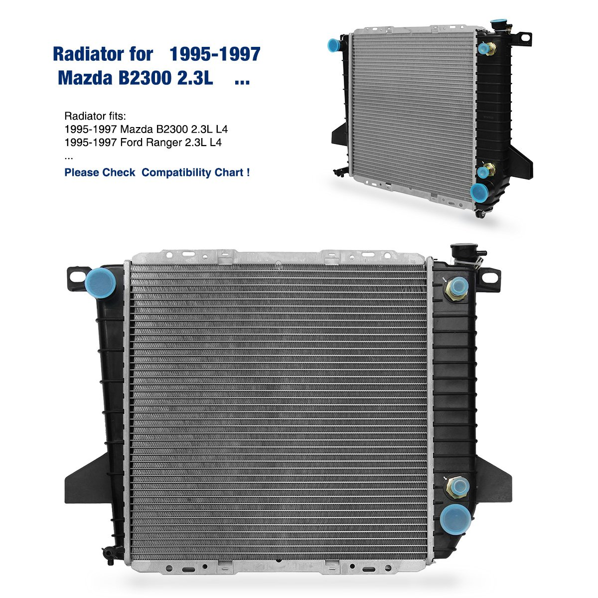 Replacement Radiator Fits Mazda Ford 1995 1996 1997 Truck B2300 Wiring Diagram Ranger 23l L4 Automotive