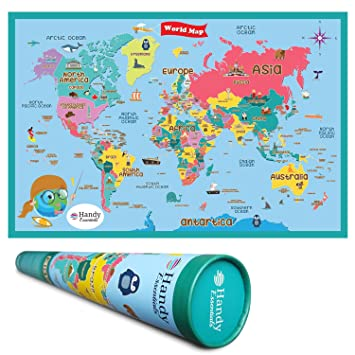 Handy Essentials Kids World Map, Dry Erase Map,Wall Decals [24 x 36 ...
