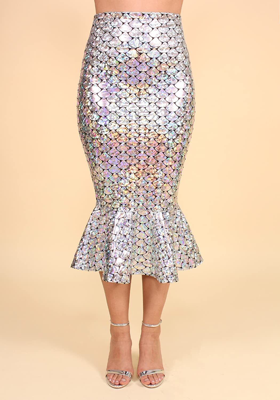 Sidecca Faux Leather Wet Look Metallic Mermaid Costume Maxi Skirt