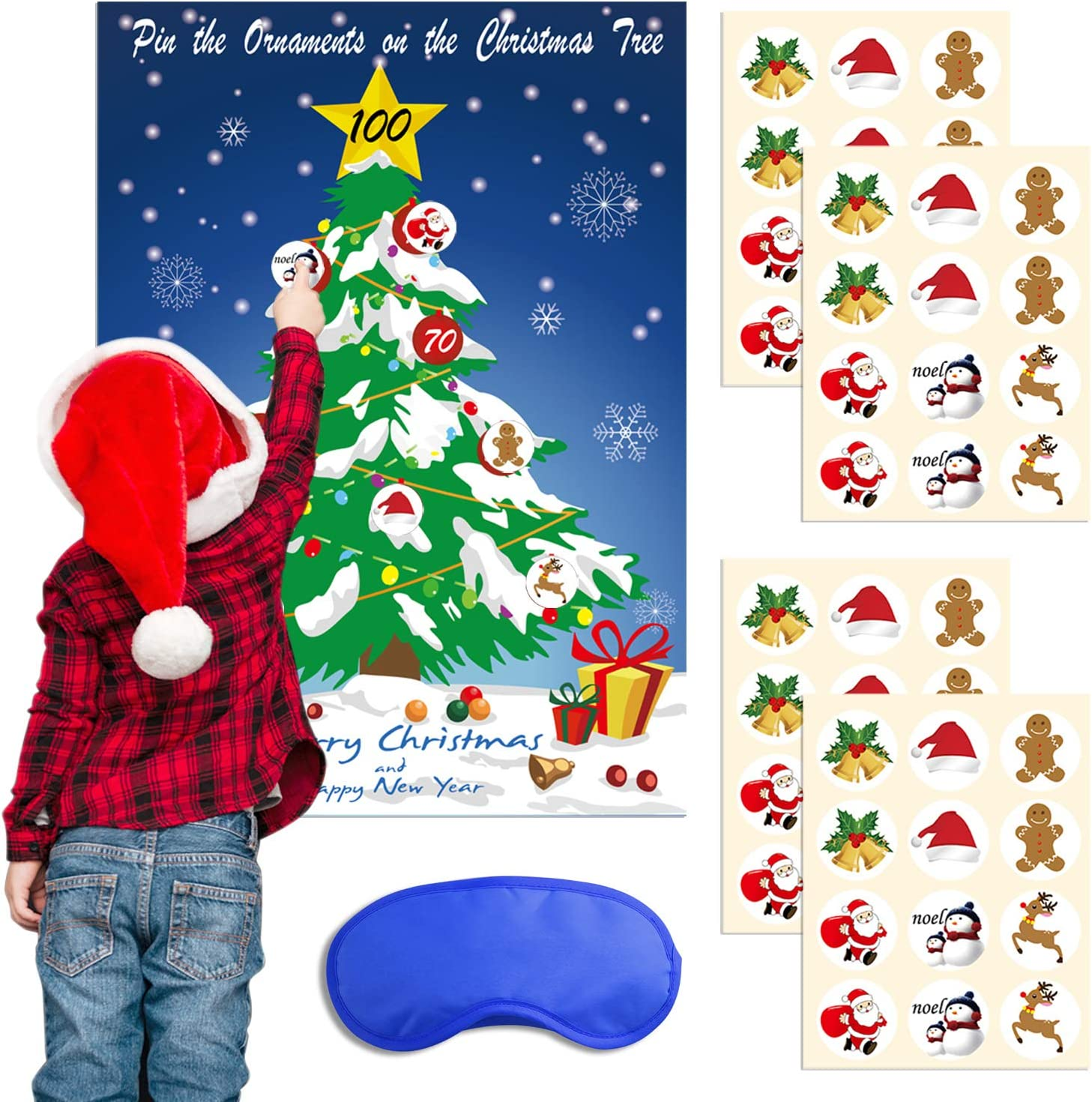 TUPARKA Christmas Party Games Pin Ornaments on The Tree with 48Pcs Stickers and 1 Pcs Blue Eye Mask Christmas Pin Game Christmas Family Game for Kids
