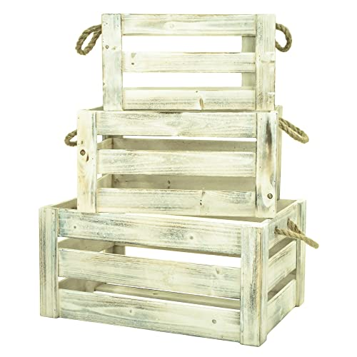 east2eden Set of 3 Vintage Wash Farm Shop Style Wooden Slatted Apple Crate Storage Display Box