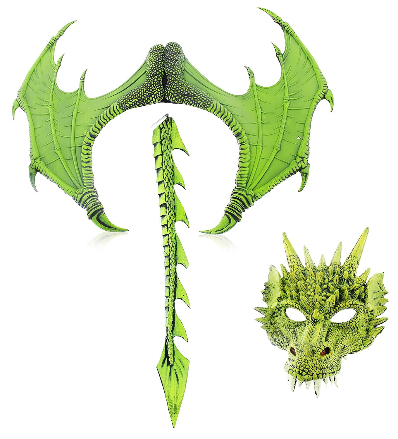 Medieval Fantasy Mask Wings Tail 3-Piece Halloween Dragon Costume for Adults
