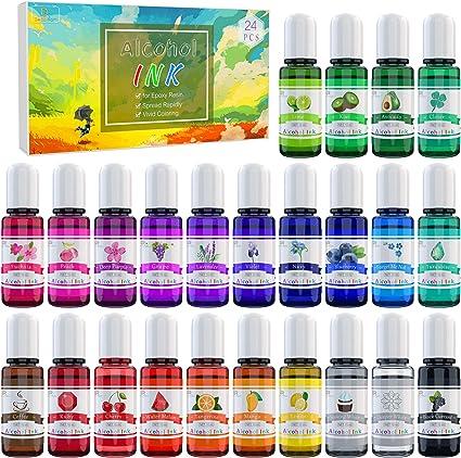Alcohol Ink Set - 24 Colores Tinta Alcohol para Pintura de Resina Epoxi, Fabricación de Placas Petri Resina - Tinte de Color de Pintura Alcohol para ...