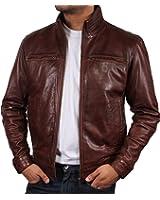 Brandslock homme blouson veste motard en cuir d'origine cru Marron