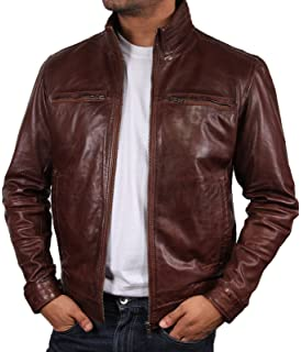 Mens Brown Leather Biker Jacket Brand New With Tag Leather Bomber
