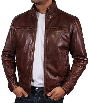 1fb09621fa33 Brandslock homme blouson veste motard en cuir d origine cru Marron  Amazon. fr  Vêtements et accessoires