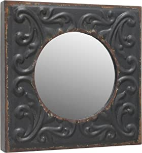 Stonebriar Round Mirror with Distressed Square Metal Tin Frame ; Industrial Wall Decor ; Distressed Finish ; With Attached Wall Hanger