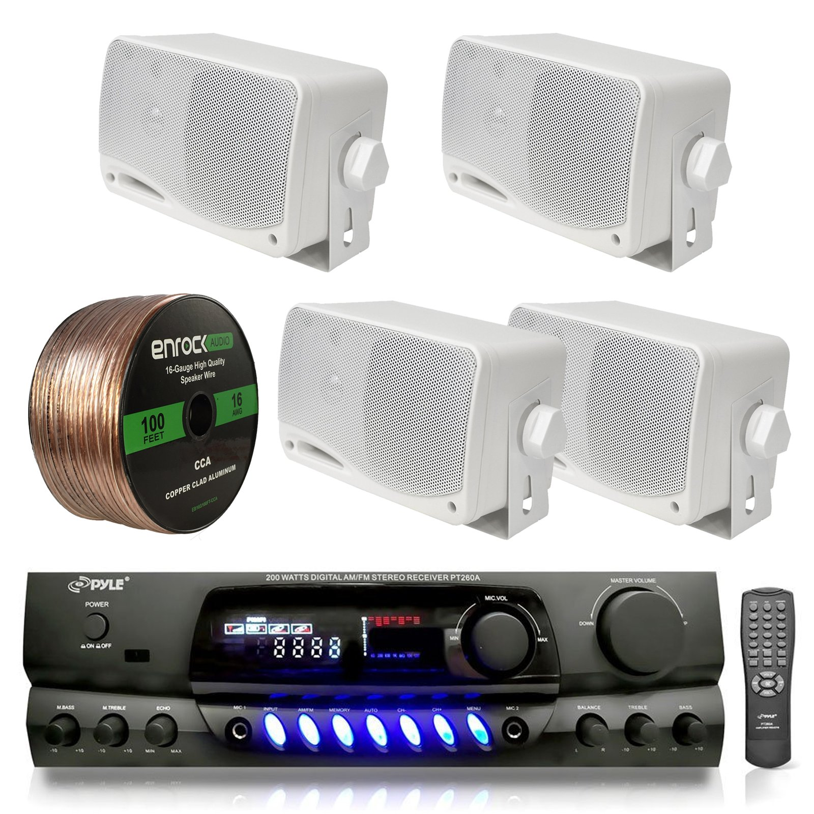 4) PYLE PLMR24 200W Outdoor Speakers + PT260A 200W Stereo Theater Receiver by Pyle