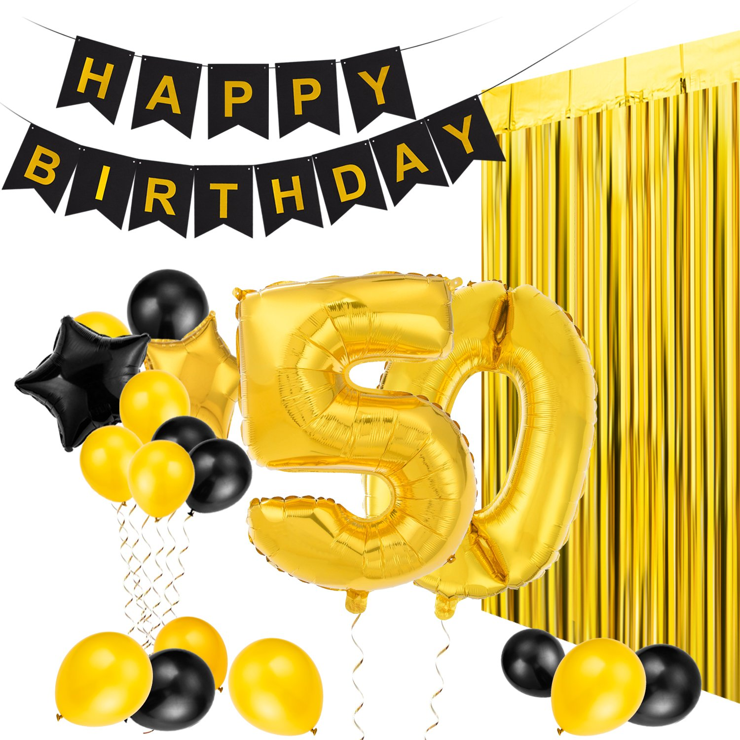 MeiHoyo 50th Birthday Decorations Happy Birthday Banner Party Kit Pack B-Day Celebration Supplies with Gold and Black Stars Balloons and Golden Fringe Curtain (50th) by MeiHoyo